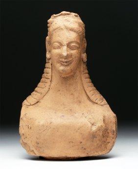 Magna Graecia Archaic Period Terracotta Bust Of Goddess
