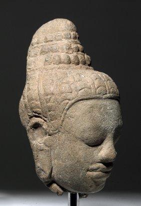 15th C. Cambodian Khmer Stone Head Of Buddha