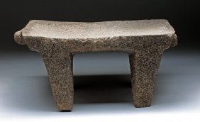Costa Rican Stone Metate - Jaguar Heads