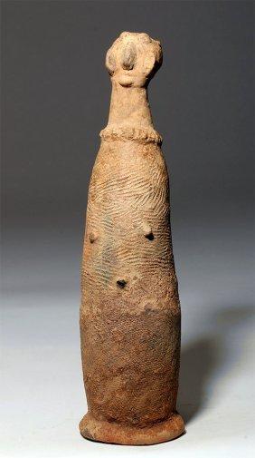 Bura Asinda-sikka Terracotta Phallic Urn - Human Visage