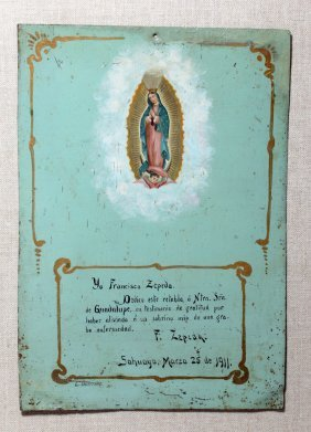 Early 20th C. Ex-voto Dedicated To Virgin Guadalupe