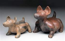Rare Pair of Jalisco Pottery Dogs