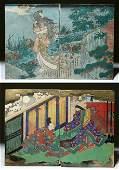 Lot of 2 Japanese Woodblock Prints  Samurai  Geisha