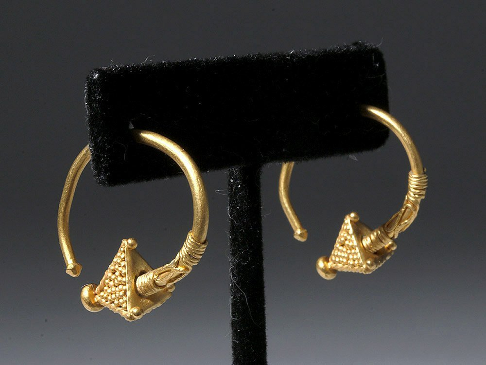 Viking 22k+ Gold  Hoop Earrings (pr)