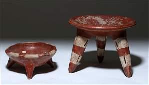 Pair of Chupicuaro Bichrome Pottery Tripod Bowls