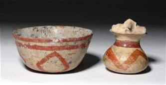 Chinesco Nayarit Bichrome Clay Figure Vessel  Bowl