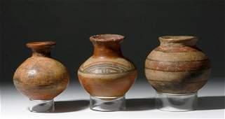 Three PreColumbian Panamanian Polychrome Jars