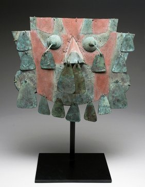 Sican Painted Copper Mask With Dangling Tears