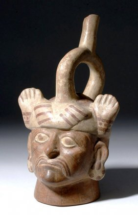 Fine Moche Portrait Stirrup Vessel - Amazing Headdress!