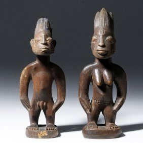 African Yoruba Carved Wood Male, Female Figures