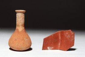 Pair Of Roman Redware Pieces - Flask & Fish