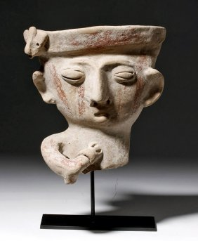 Large Pre-columbian Bichrome Pottery Head - Singing
