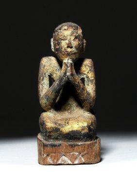 19th C. Burmese Gilded Wood Praying Monk