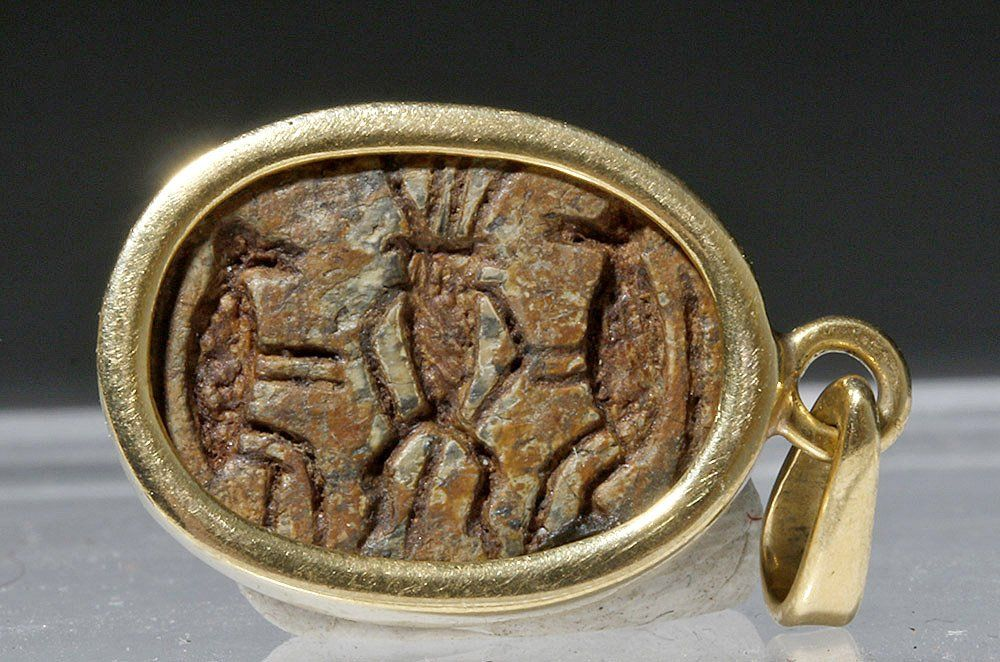 Egyptian Steatite Scarab, Gold Pendant with Bes