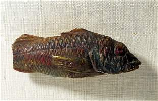 Rare Egyptian Polychromed Alabaster Fish, ex-Sotheby's