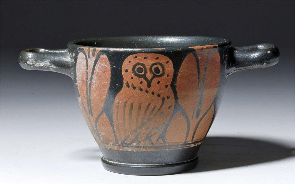 Lovely Greek Attic Red-Figure Owl Skyphos