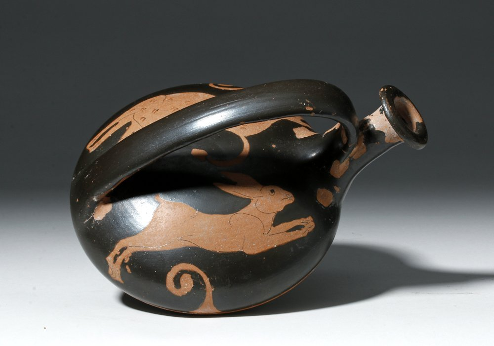 Greek Red-Figure Askos - Canine and Hare
