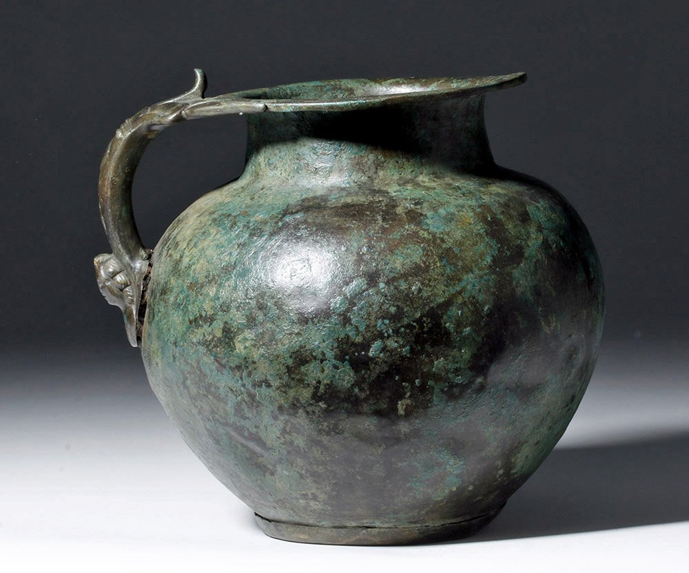 Superb Roman Bronze Pitcher, Human Face Handle