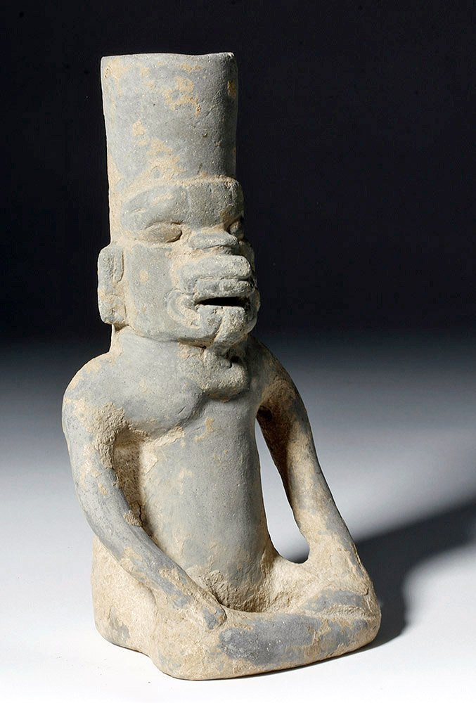 Monte Alban Figural Urn - Seated God /Toothy Fangs