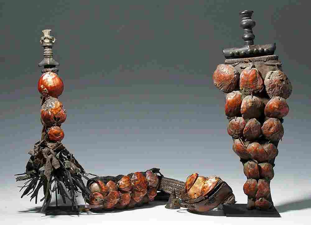 Rare 19th C. African Ashanti Royal Ammo Belt + 2 Knives