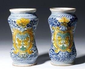 15th C. European Majolica Pottery Jars (pr)