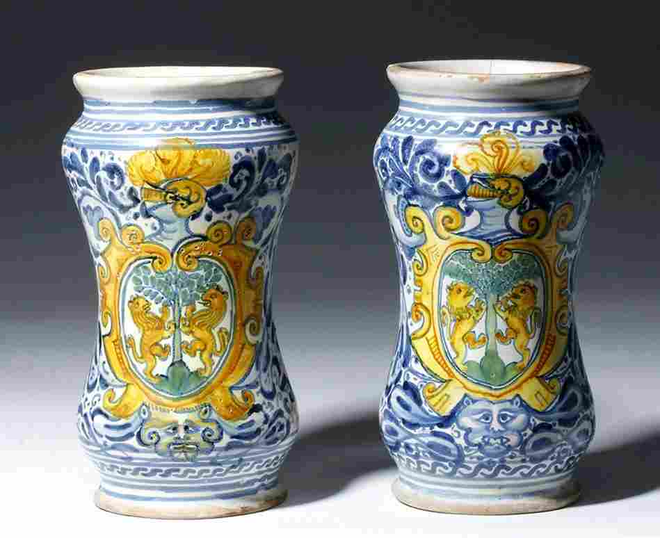 15th C. European Majolica Pottery Jars (pr)