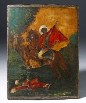 Russian Icon St. Demetrius Of Salonika Slaying Lyaeos