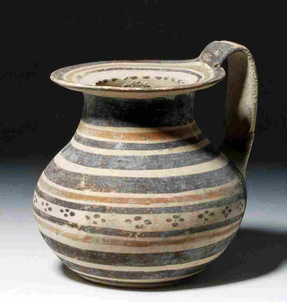Attractive Daunian Polychrome Pottery Olpe
