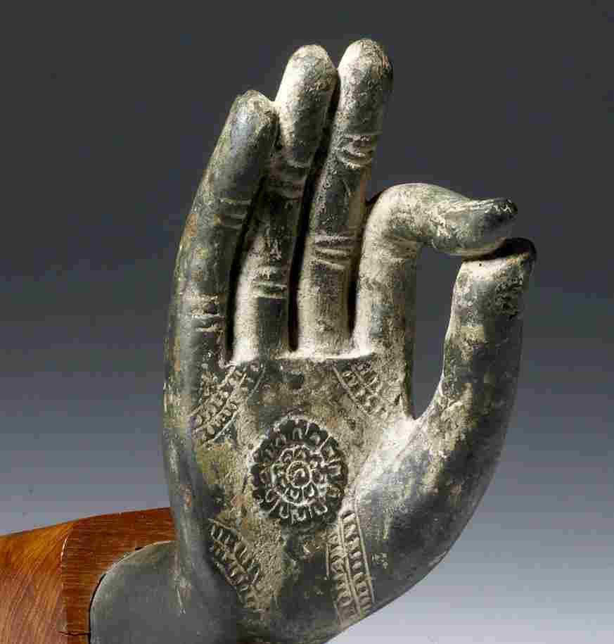 19th C. Thai Bronze Buddha Hand - Vitarka Mudra
