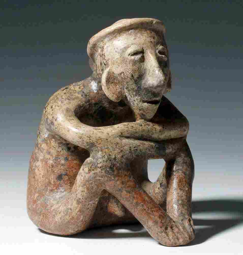 Nayarit Burnished Pottery Seated Male Figure
