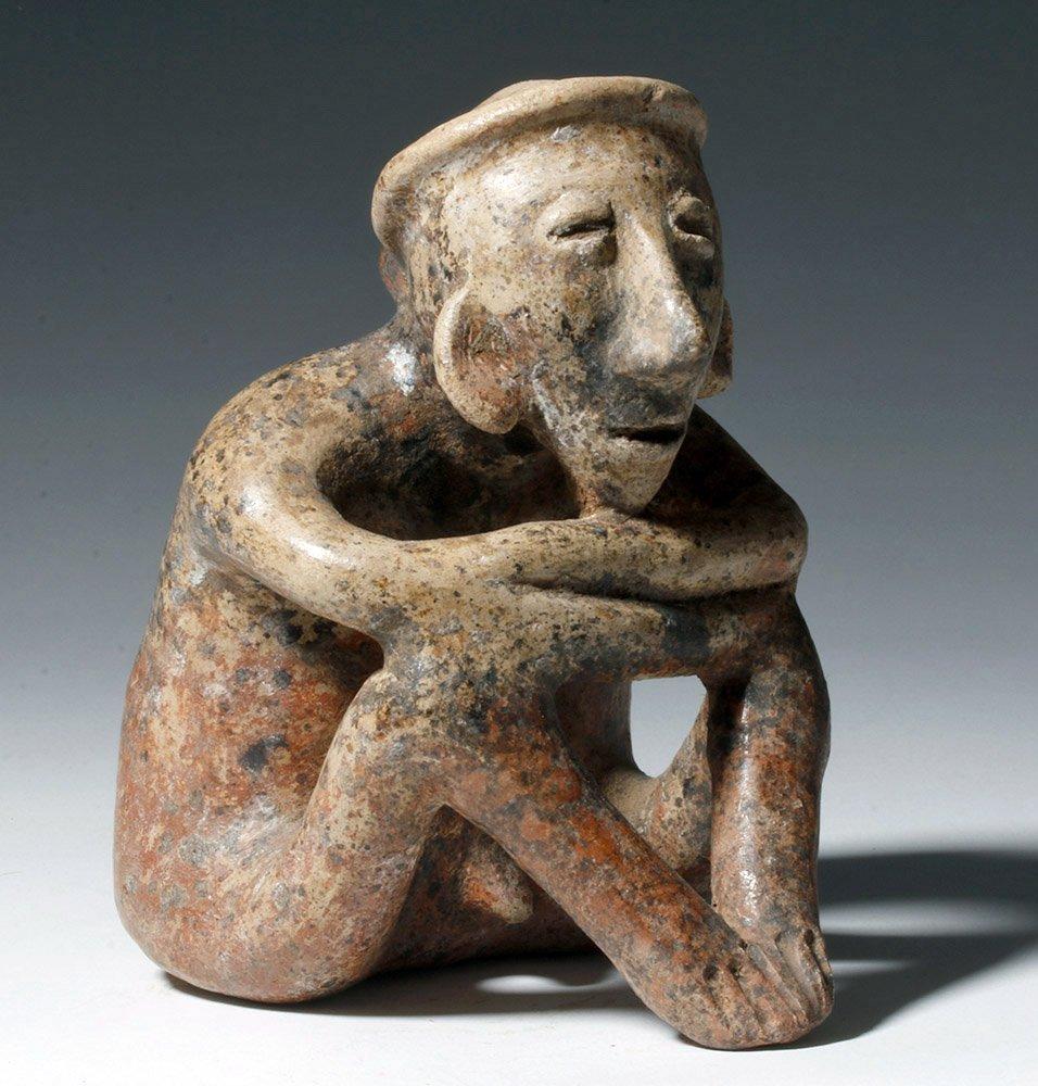 Nayarit Burnished Pottery Seated Male Figure