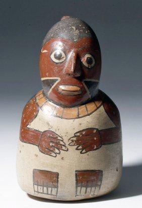 Nazca Polychrome Figural Stirrup Vessel