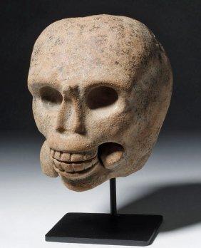 Macabre Veracruz Pottery Skull - Snake In Mouth