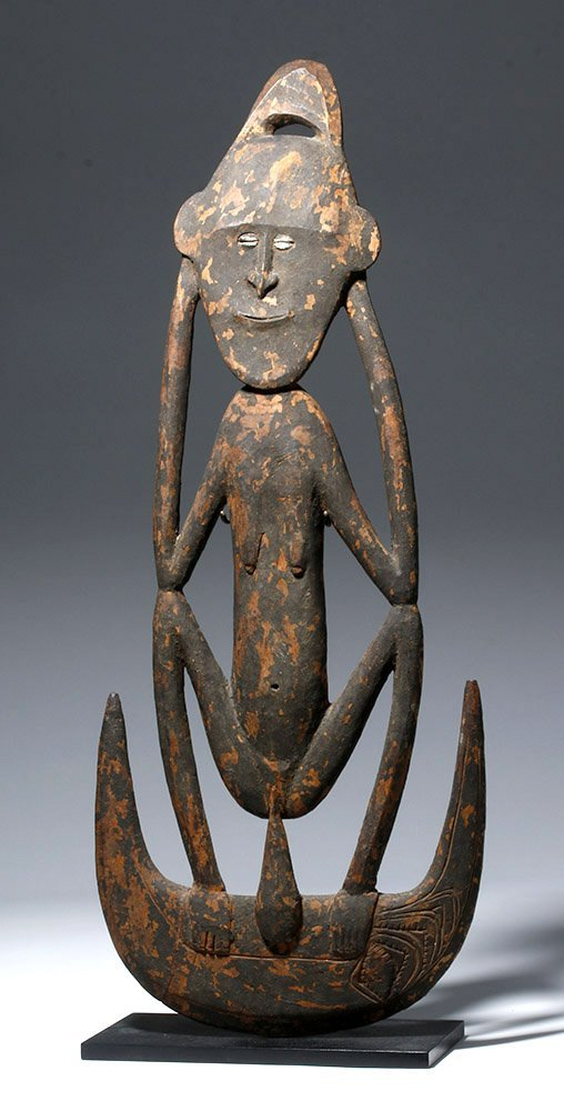 19th C. PNG Iatmul Wood Basket Hook - Figural
