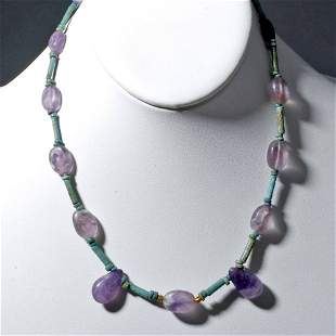 Egyptian Faience and Amethyst Bead Necklace