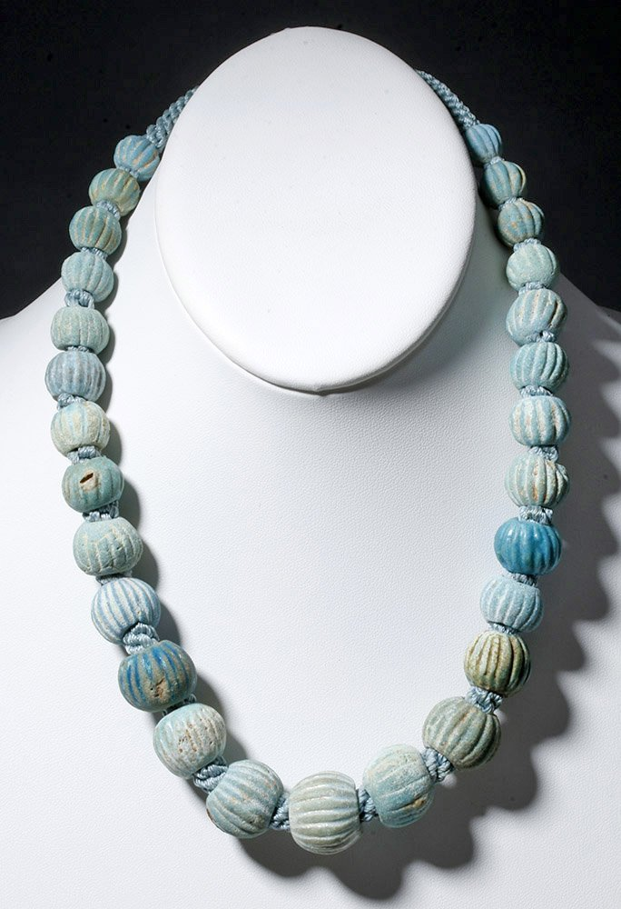 Ancient Egyptian Strand of Faience Melon Beads