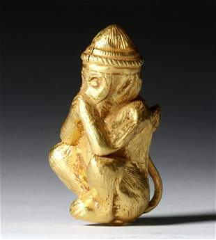 Important Romano-Egyptian Gold Monkey - 97% Pure Gold