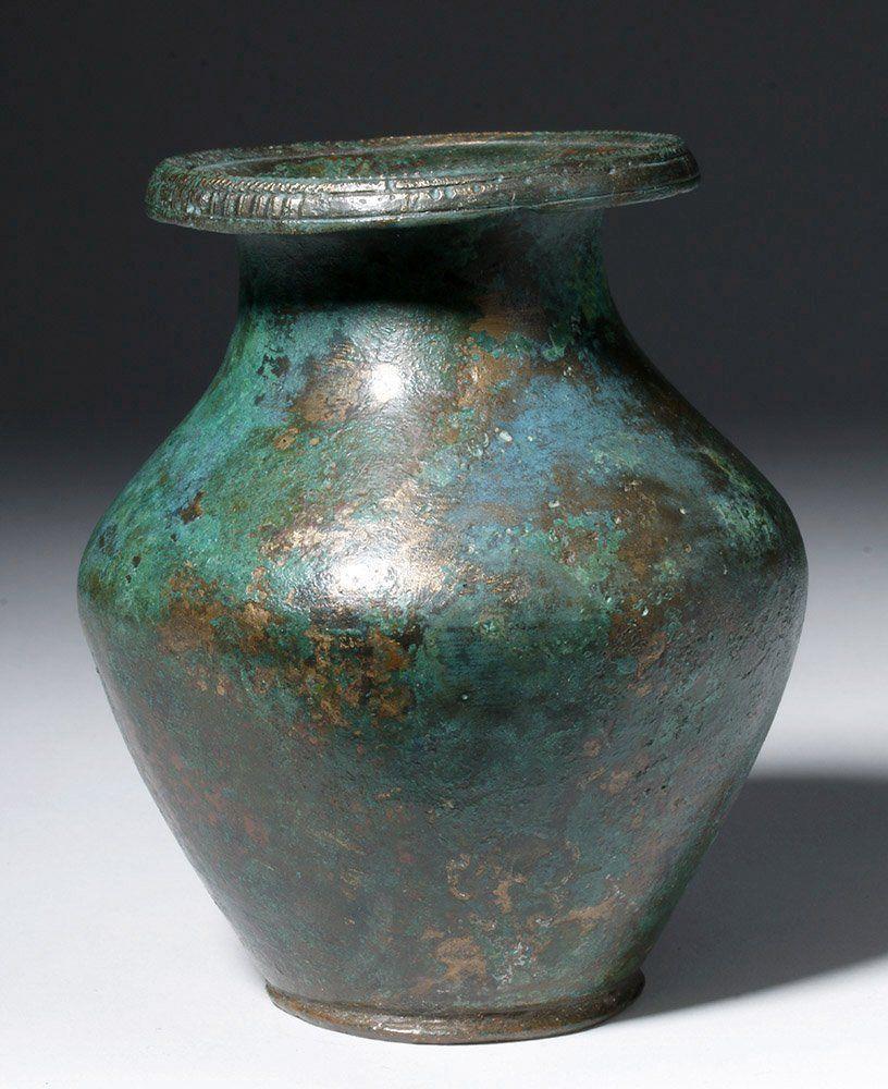 Stunning Roman Bronze Vase, Finely Decorated Rim