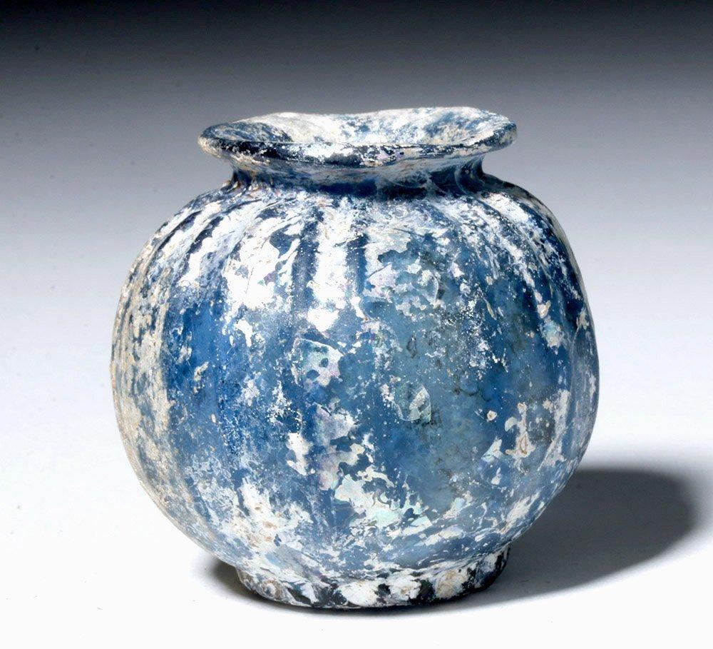 Near-Miniature Roman Glass Globular Vessel, Cobalt Blue