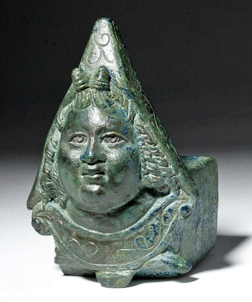 Roman Bronze Chariot Fitting with Attis