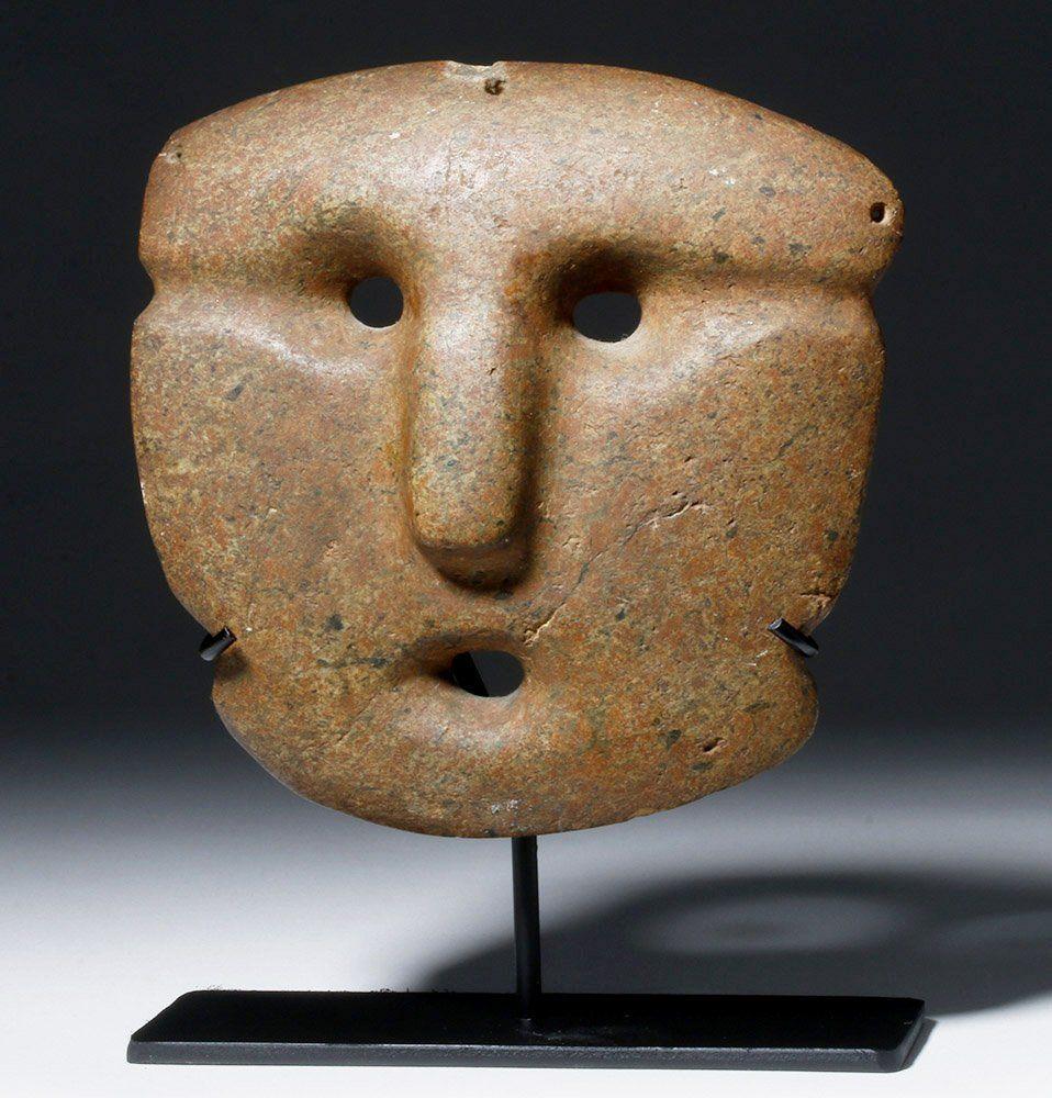 Pre-Columbian Mezcala Stone Mask, Abstract Visage