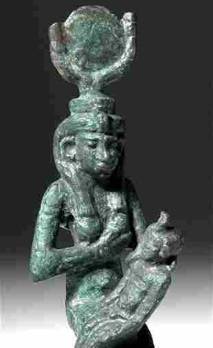 Egyptian Bronze Figure of Isis and Horus