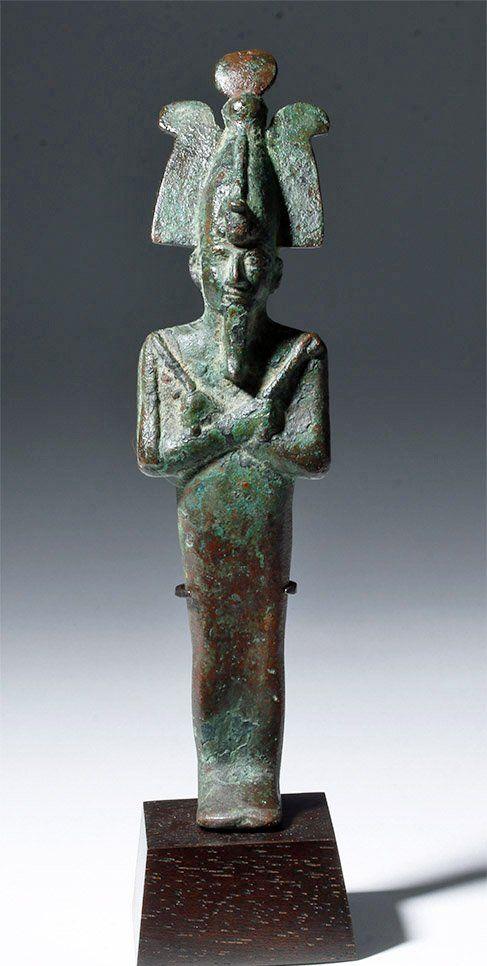 Tall Egyptian Bronze Standing Mummiform Osiris