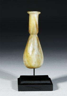 Roman Glass Unguentarium, Yellow Marbled