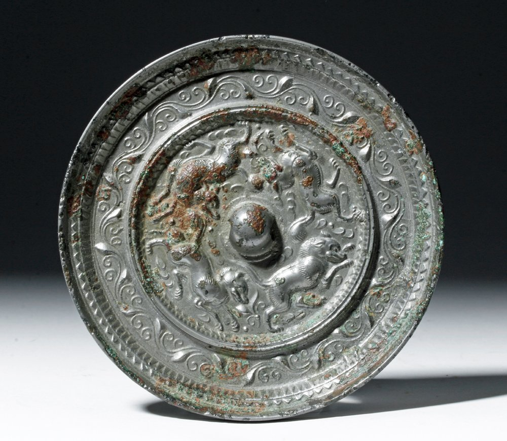 Superb Chinese Tang Dynasty Silvered Bronze Mirror