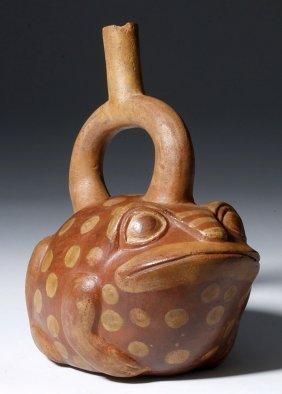 Bichrome Moche Frog Effigy Stirrup Vessel