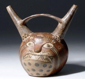Huari Pottery Twin Spouted Jaguar Vessel
