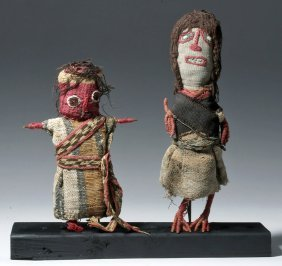 Pair Of Chancay Textile & Reed Dolls