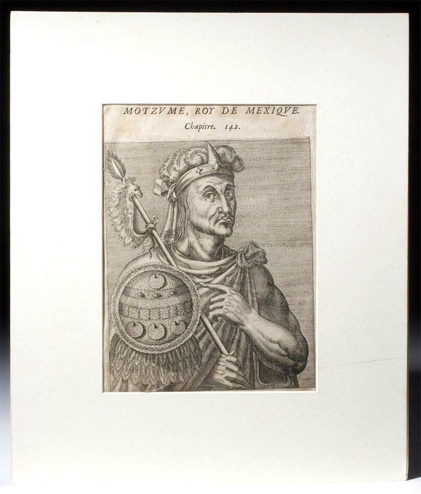 16th C. French Engraving of Montezuma II - Andre Thevet