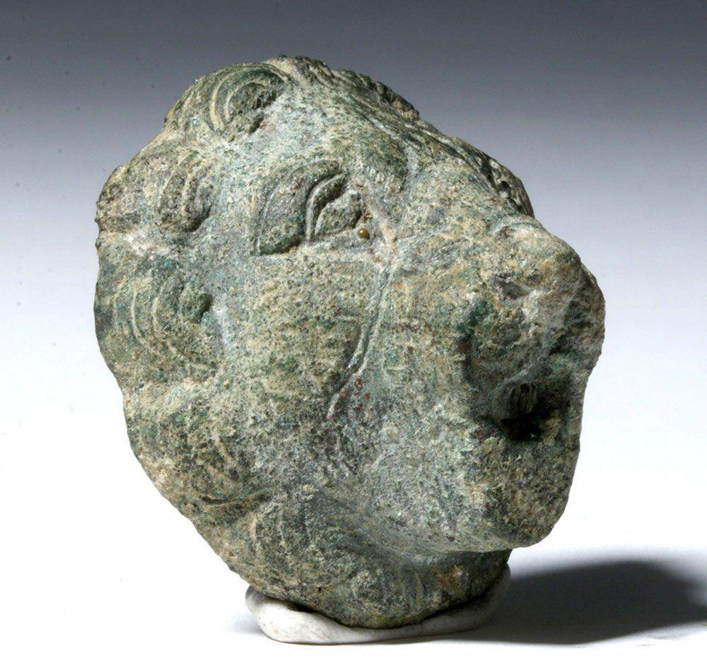 Roman Bronze Lion Head Applique